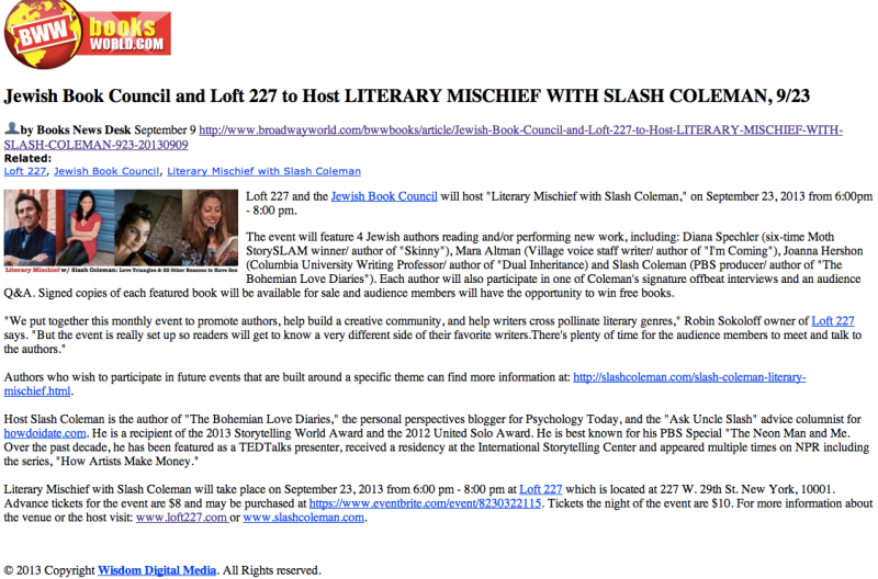 Literary Mischief @Loft227 | Slash Coleman | Broadwayworld.com